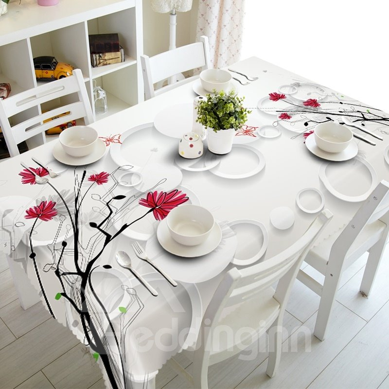 White Circle and Flower Prints Design Dining Room Decoration 3D Tablecloth