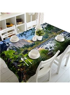 Fabulous River at the Foot of the Mountain Natural Scenery Prints 3D Tablecloth