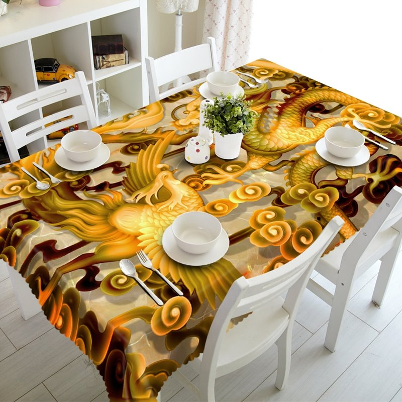 Special Phoenix and Dragon Prints Design Dining Room Decoration 3D Tablecloth