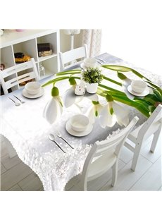 White Fresh Flowers Prints Design Dining Room Decoration 3D Tablecloth