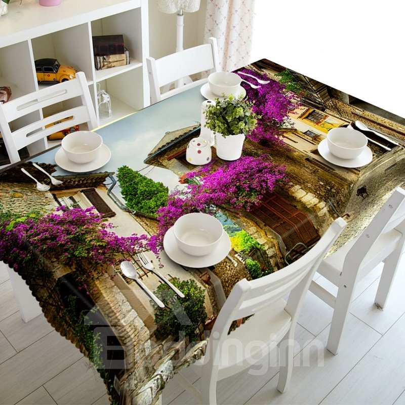 European Style Small Town Street Scenery Prints Design 3D Tableclloth