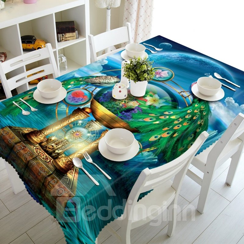Excellent Creative Peacocks Prints Dining Room Decoration 3D Tablecloth