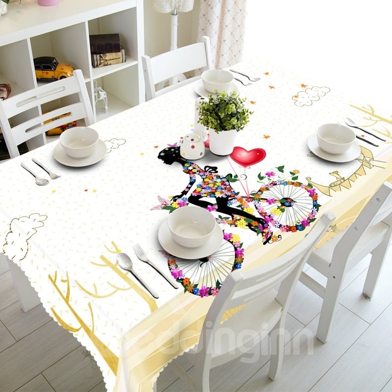 Simple Style Flowers Girl Riding a Bike Prints Dining Room Decoration 3D Tablecloth