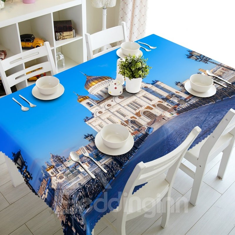 Durable Taj Mahal Architecture Prints Dining Room Decoration 3D Tablecloth