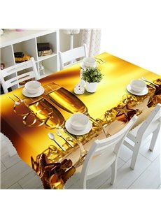 Simple Style Two Wine Glasses Prints Design Washable 3D Tablecloth