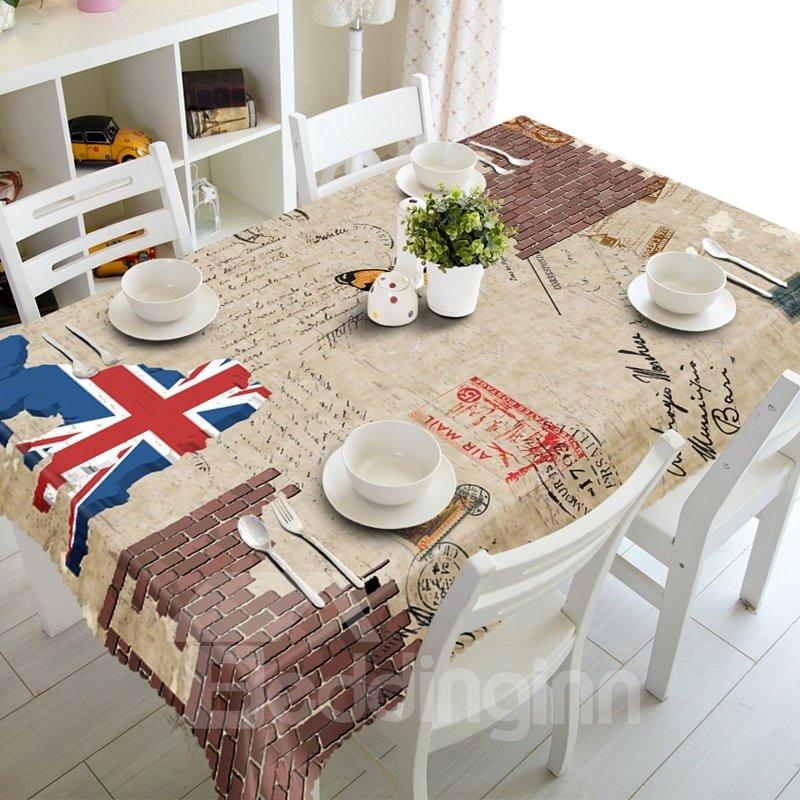 Vintage European Style Union Jack Prints Dining Room Decoration 3D Tablecloth