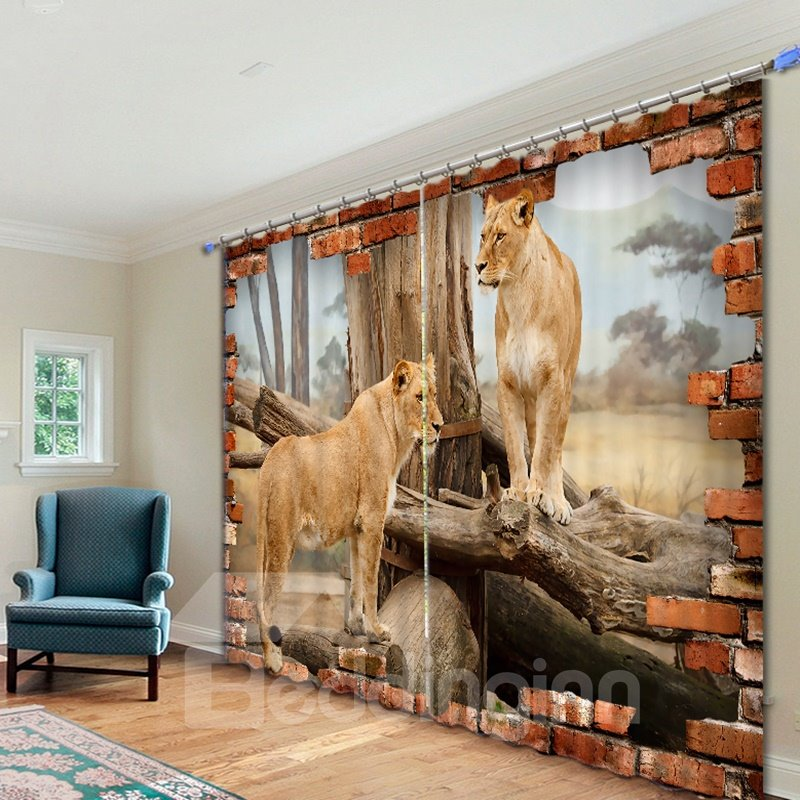 3D Couple Lions Standing on the Wood Printed Animal Style Polyester Curtain