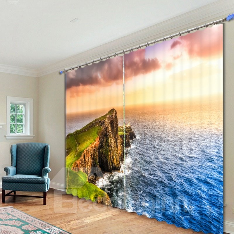 Picturesque Nature Scenery 3D Printed Polyester Curtain