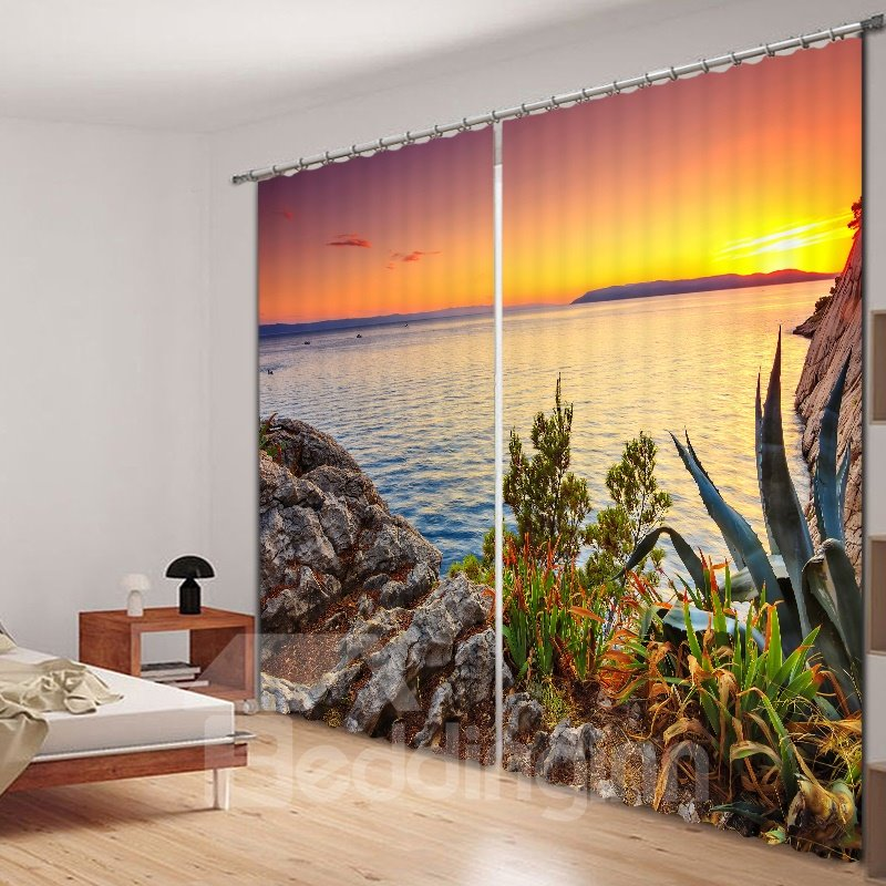 Beautiful Sunrise at the Seaside Printed 3D Curtain