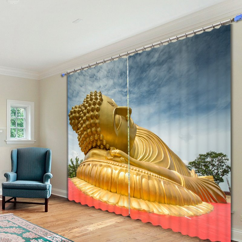 Golden Buddha Statue Lying Down Printed 3D Curtain