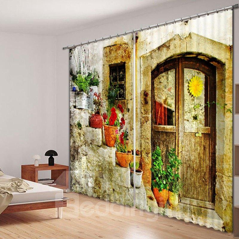 Quaint Door Colored Flowers Printed 3d Curtain Pic