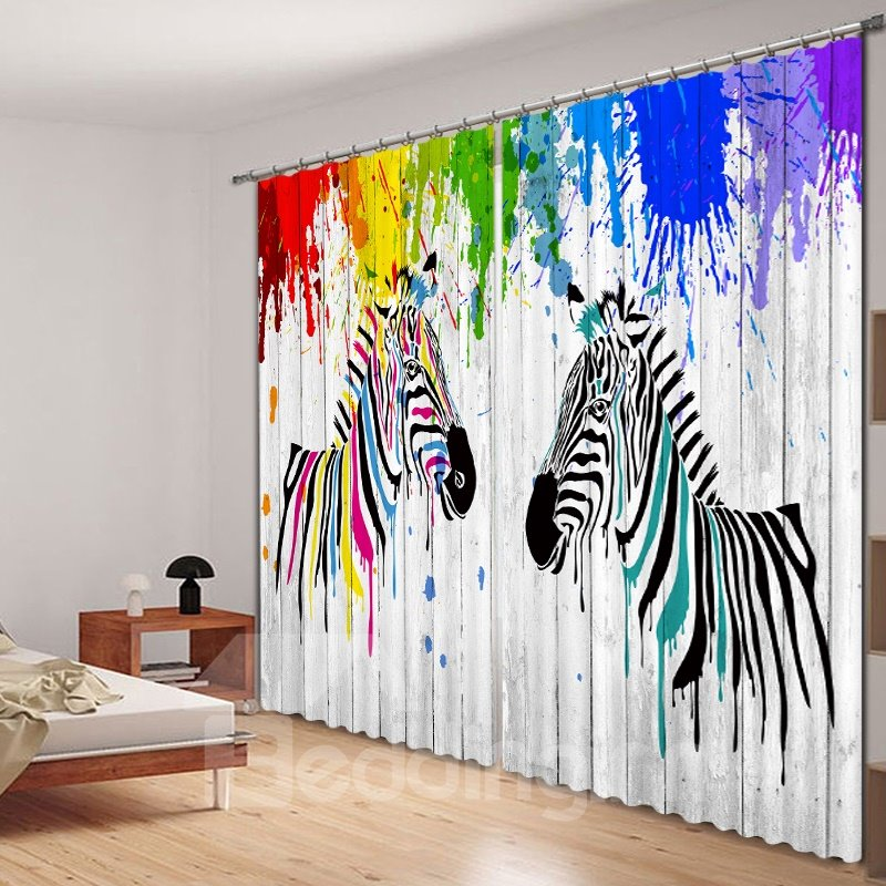 3D Watercolor Cartoon Zebras Printed Thick Polyester Creative Bedroom Curtain