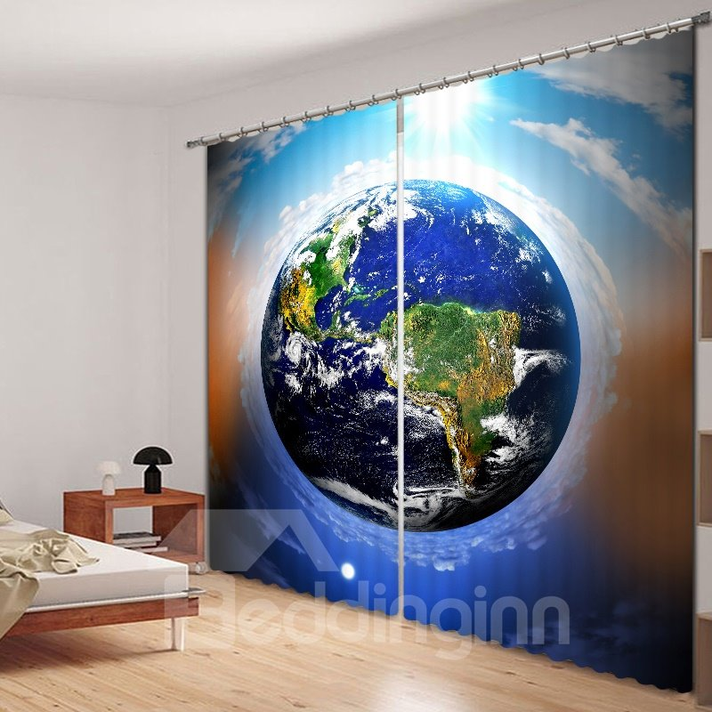 The Earth Overlooking in the Space Printed 3D Curtain