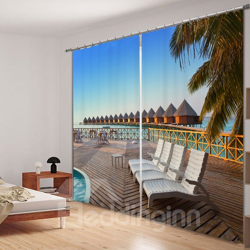 Seaside Resort in the Sunny Day Printed 3D Curtain