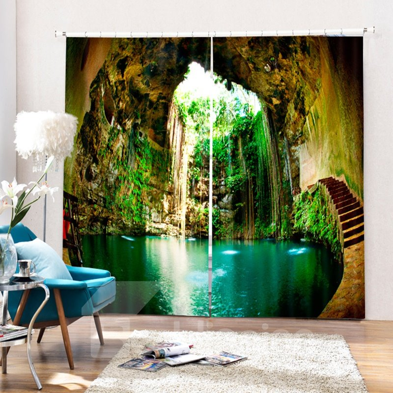 Wonderful Ikil Cenote Scenery Printed 3D Curtain