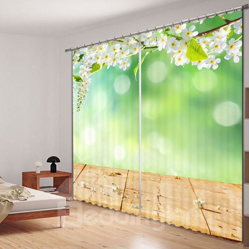Graceful Spring Scenery Printed 3D Curtain