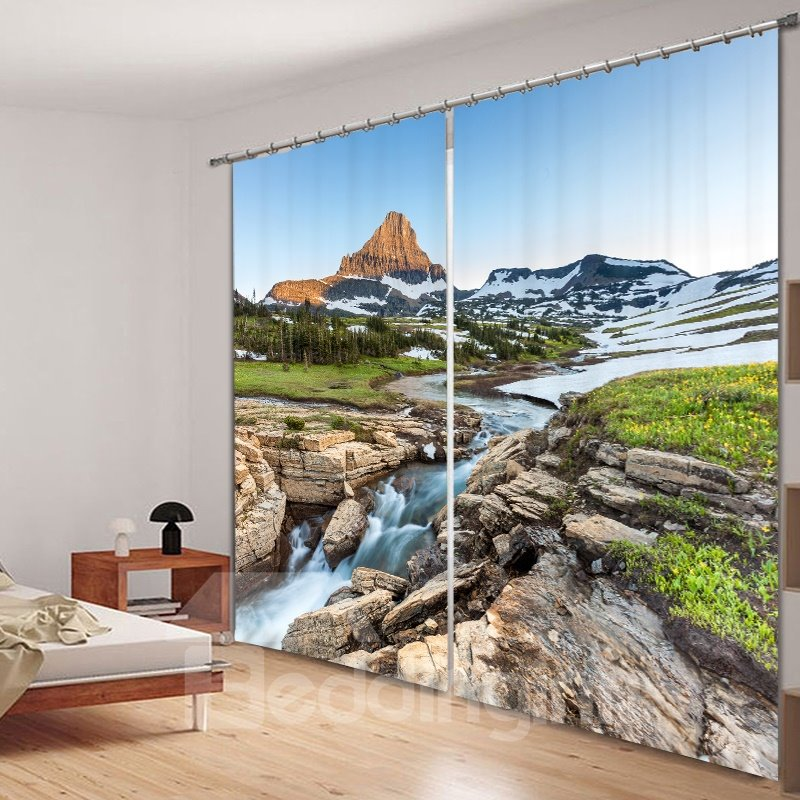 Graceful Nature Scenery Printed 3D Polyester Curtain