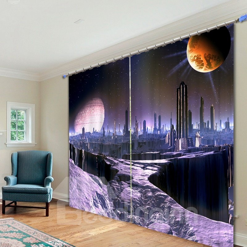 Dreamy City Scenery Printed 3D Polyester Curtain