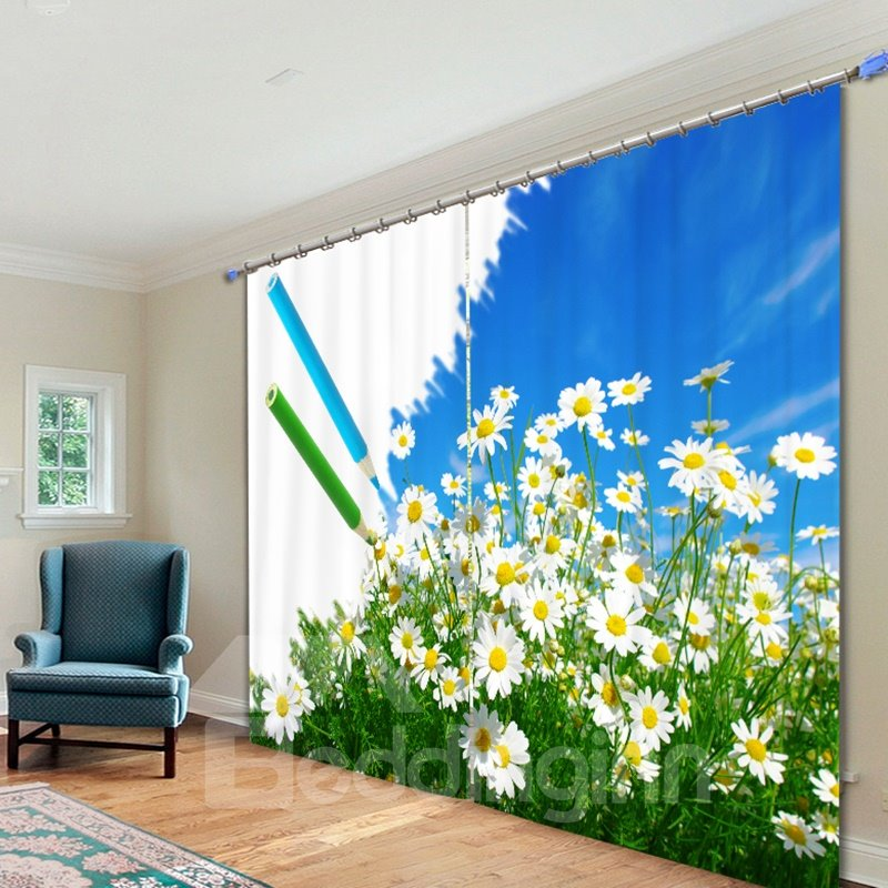 Beautiful White Flower Printed 3D Curtain