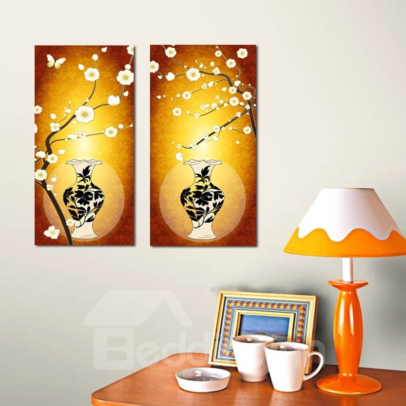 Classic Flowers and Vases Pattern 2 Pieces Framed Wall Art Prints