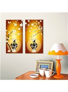 Classic Flowers and Vases Pattern Yellow 2 Pieces Framed Wall Art Prints