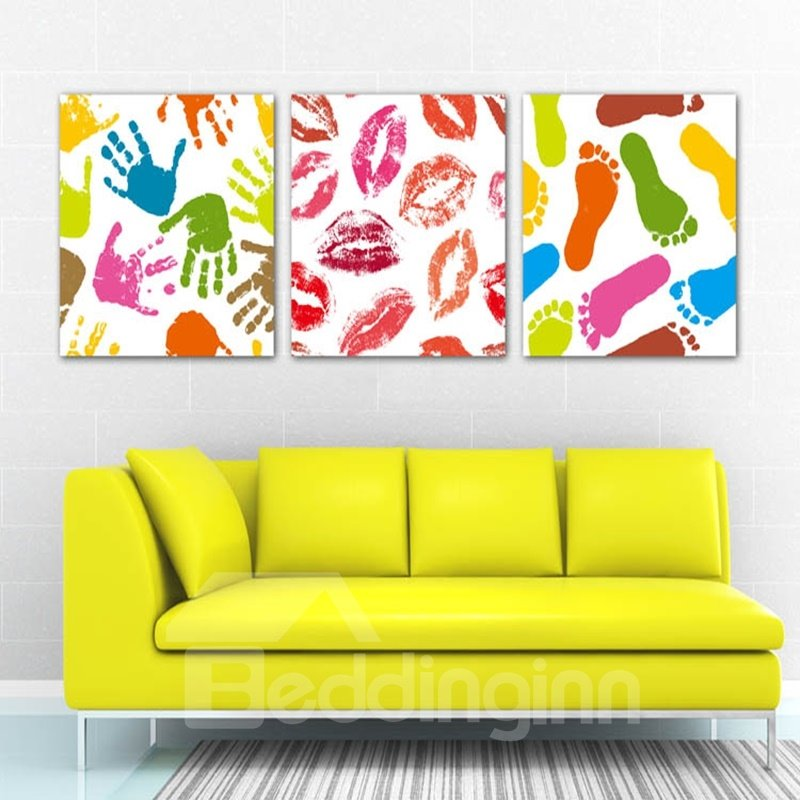 Colorful Hand and FootPrints Pattern Framed 3 Pieces Wall Art Prints