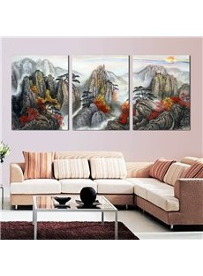 Magnificent Mountains Pattern Design 3 Panels Framed Wall Art Prints