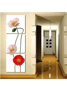 White Flowers Pattern 3 Pieces Home Decorative None Framed Wall Art Prints