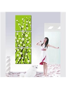 Green Background Decorated by White Flowers 3 Panels Hanging Framed Wall Art Prints