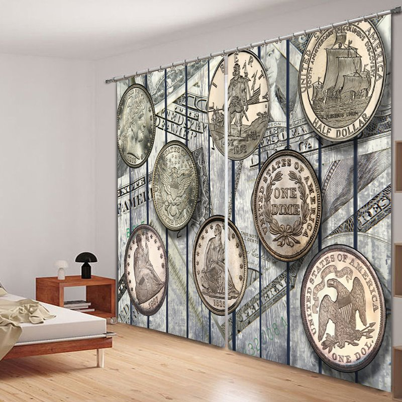 European Coins Designer Polyester Printing 3D Curtain