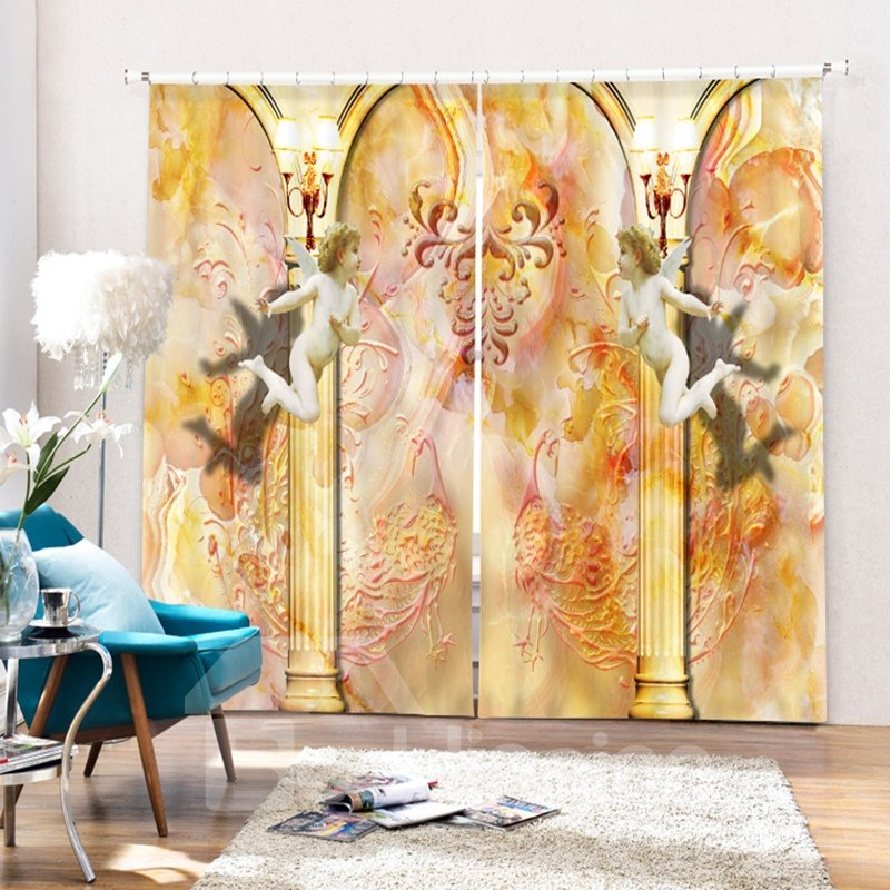 Little Angles Flying Printing 3D Polyester Curtain