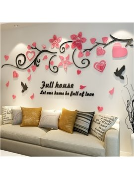 Acrylic Flowers and Birds Pattern 3D Waterproof Wall Stickers