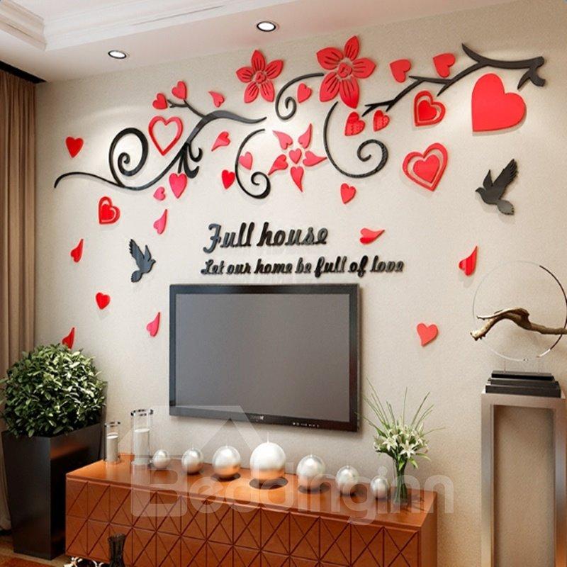 Acrylic Flowers and Birds Pattern 3D Waterproof Wall Stickers