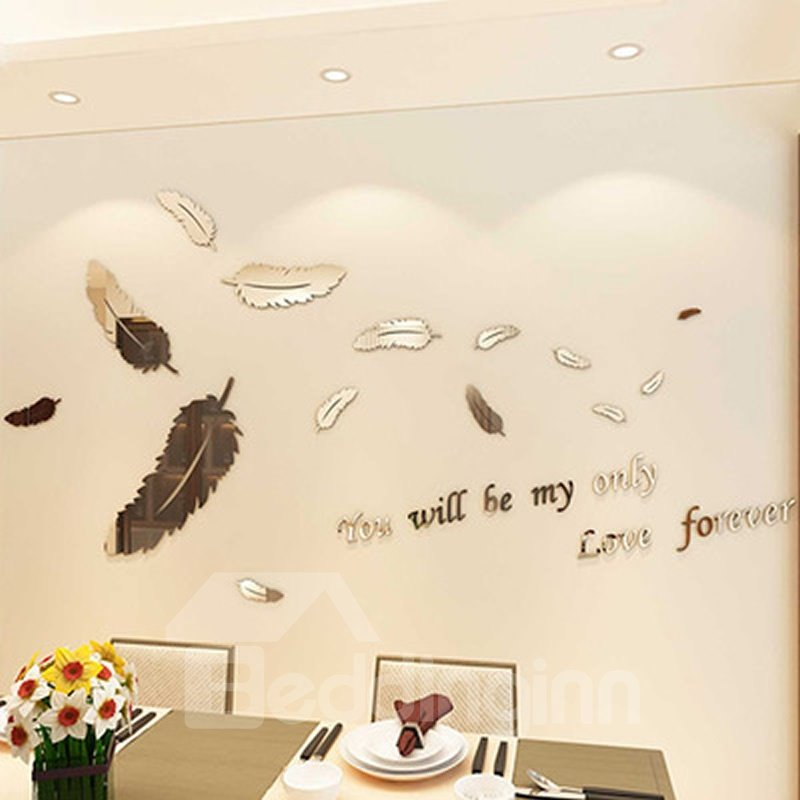 Simple Style Acrylic Feather Pattern Design Home Decoration 3D Wall Stickers