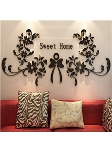 Modern Design Sweet Home Flowers Pattern Three-dimensional 3D Wall Stickers