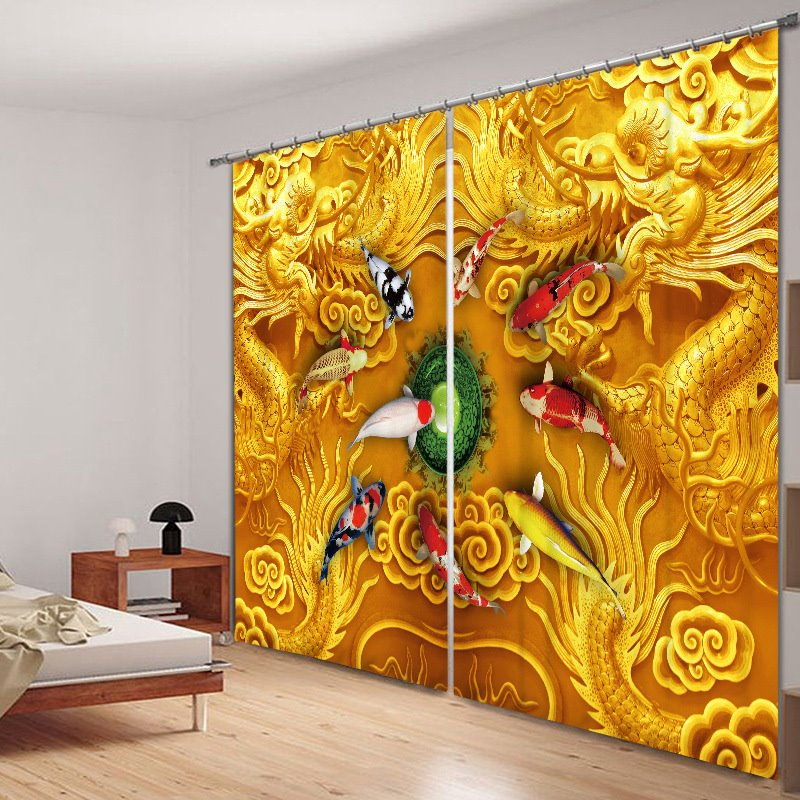 3D Chinese Dragons With Gold Fishes Printed Thick Polyester Yellow Color 2 Pieces Shading Curtain