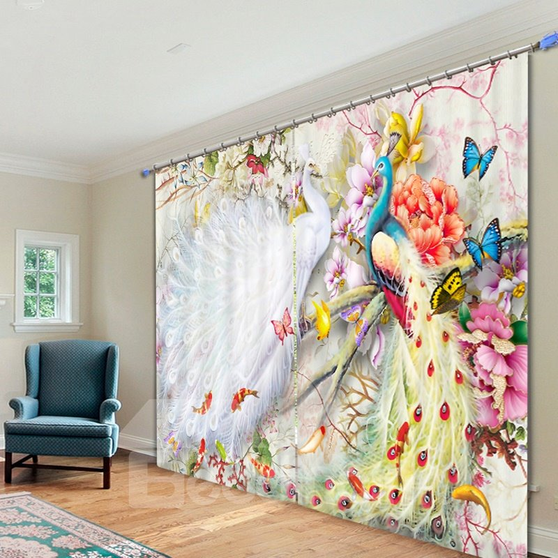 3D Couple Peacocks Butterflies and Flowers Printed Animal Style Decoration Custom Curtain
