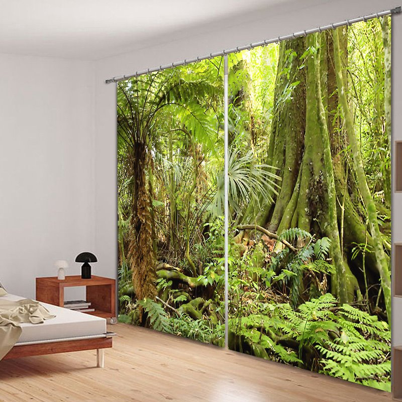 Wild Forest Scenery Polyester Printing 3D Curtain