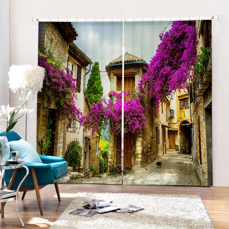 Relaxing Countryside Polyester Printing 3D Curtain