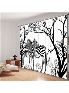 Concise Zebras Standing in Forest Printing 3D Curtain