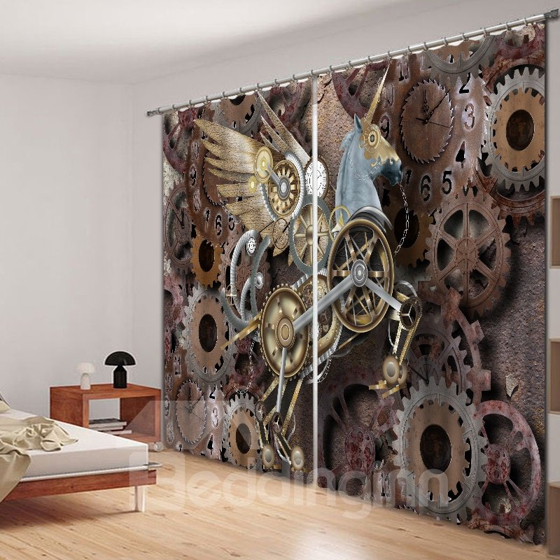 Designer Flying Unicorn Polyester Printing 3D Curtain