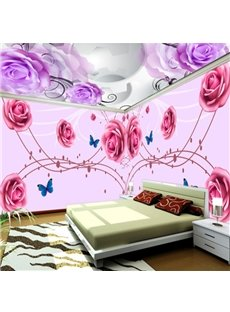 Pink and Purple Flowers Pattern Design Decorative Combined Waterproof 3D Ceiling and Wall Murals