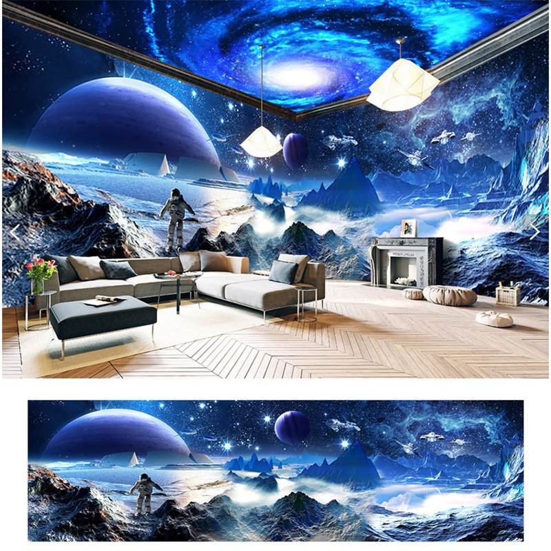 Amazing Surface of Moon Scenery Pattern Design Waterproof Combined 3D Ceiling and Wall Murals