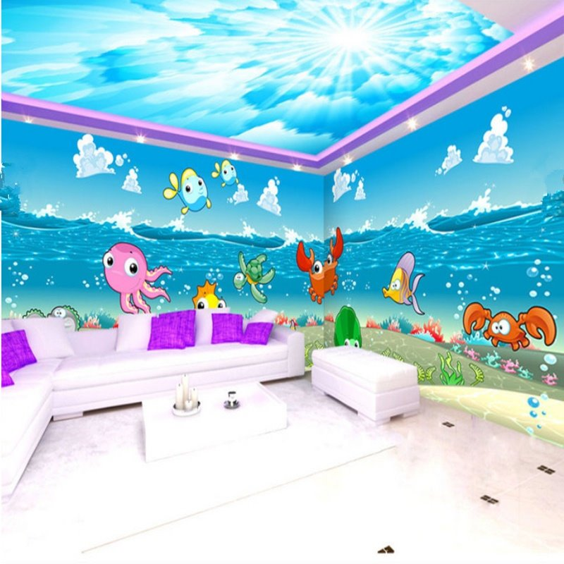 Cartoon Cute Fishes in the Sea Pattern Combined Waterproof 3D Ceiling and Wall Murals