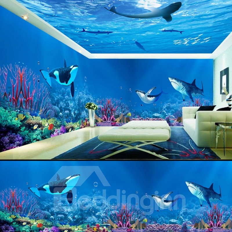 Blue Dolphins and Sharks in the Sea Pattern Combined Waterproof 3D Ceiling and Wall Murals