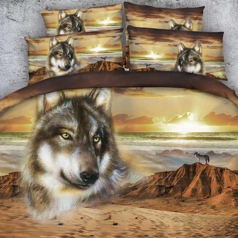 Stunning Lifelike Wolf 3D Printed 2-Piece Pillow Cases