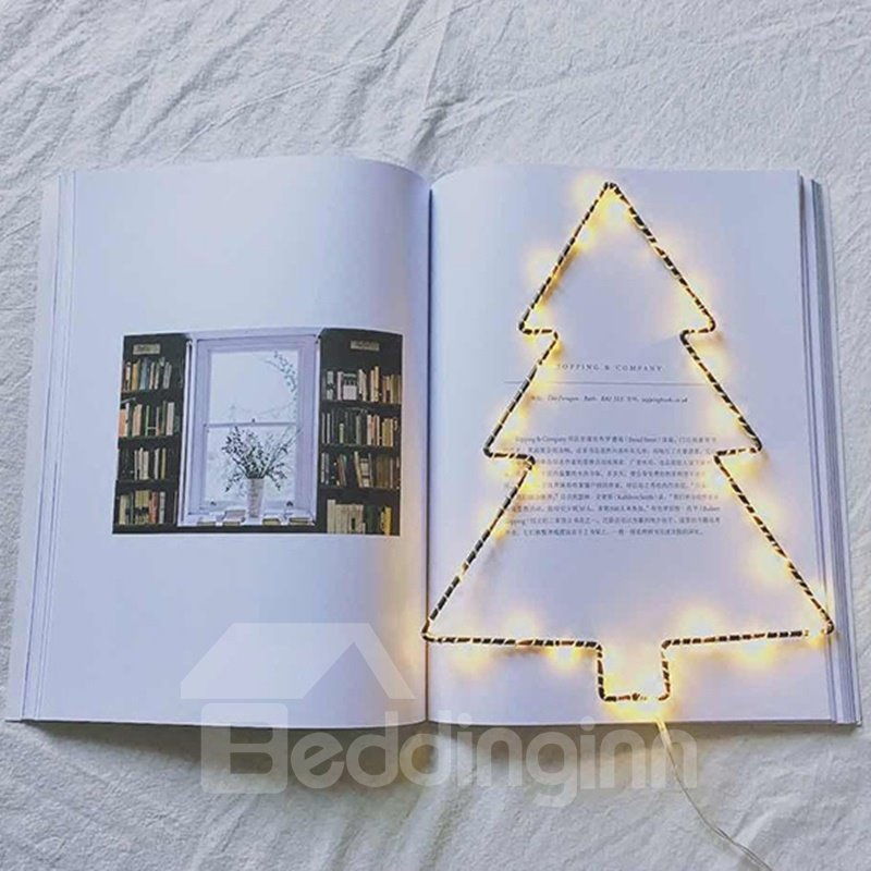 Unique Iron Christmas Tree Shape Design Battery LED String Lights