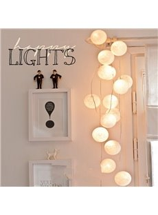 White Round Cotton Thread Ball Shape Design 12.8 Feet Length LED String Lights