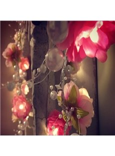 Handmade Decorative Artificial Pearls and Flowers Design 6.6 Feet Length LED String Lights