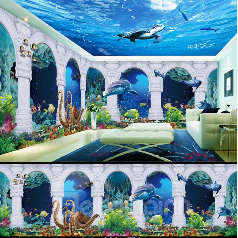 Blue Dolphins and Turtles Seabed Scenery Pattern Combined 3D Ceiling and Wall Murals